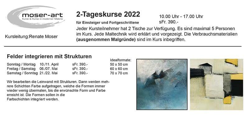 Kursprogramm 2022 ist aufgeschaltet