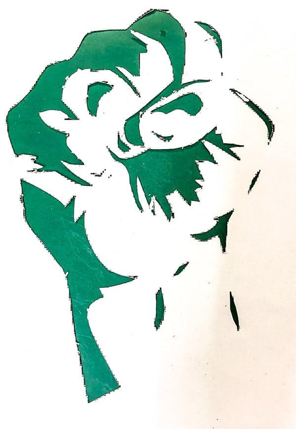 Schablone «Faust» aus dem Graffiti-Workshop 18. & 19. Mai 2019   moser-art