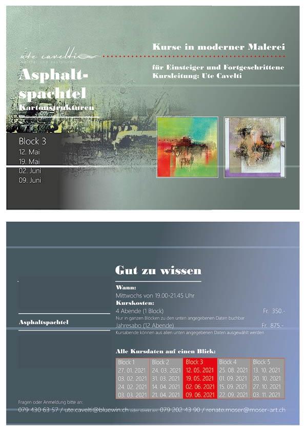 "Malkurse moser-art | Kursflyer ""Asphaltspachtel"""